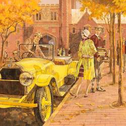 Yellow Open Car art print by Gallerist