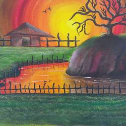 sunrise , 20 x 16 inch, suresh kyatham ,landscape paintings,paintings for living room,love paintings,canvas,acrylic color,20x16inch,GAL04471142heart,family,caring,happiness,forever,happy,trust,passion,romance,sweet,kiss,love,hugs,warm,fun,kisses,joy,friendship,marriage,chocolate,husband,wife,forever,caring,couple,sweetheart