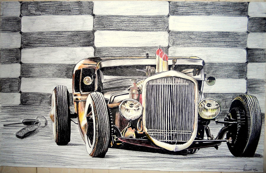 the rat rod , 22 x 14 inch, himanshi baid,still life paintings,paintings for office,ivory sheet,mixed media,22x14inch,GAL03951143