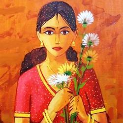 tender moment_5, 12 x 24 inch, ananda ahire,figurative paintings,paintings for office,canvas,acrylic color,12x24inch,GAL0341148