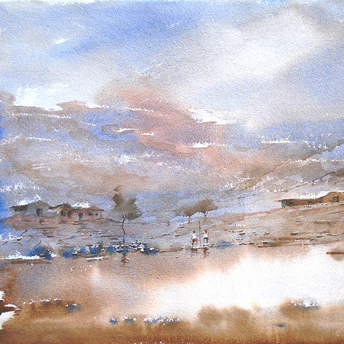 water , 20 x 14 inch, ananda ahire,landscape paintings,paintings for office,thick paper,watercolor,20x14inch,GAL034115