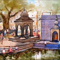 godavari, ramkund nashik_1, 14 x 20 inch, ananda ahire,landscape paintings,paintings for office,thick paper,watercolor,14x20inch,GAL0341150