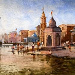 godavari, ramkund nashik_2, 14 x 20 inch, ananda ahire,landscape paintings,paintings for office,thick paper,watercolor,14x20inch,GAL0341151