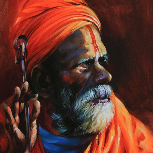 saga of saint, 18 x 24 inch, bijendra  pratap ,paintings for living room,religious paintings,canvas,acrylic color,18x24inch,GAL04531153