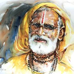 saga of saint, 20 x 14 inch, bijendra  pratap ,paintings for living room,religious paintings,renaissance watercolor paper,watercolor,20x14inch,GAL04531154