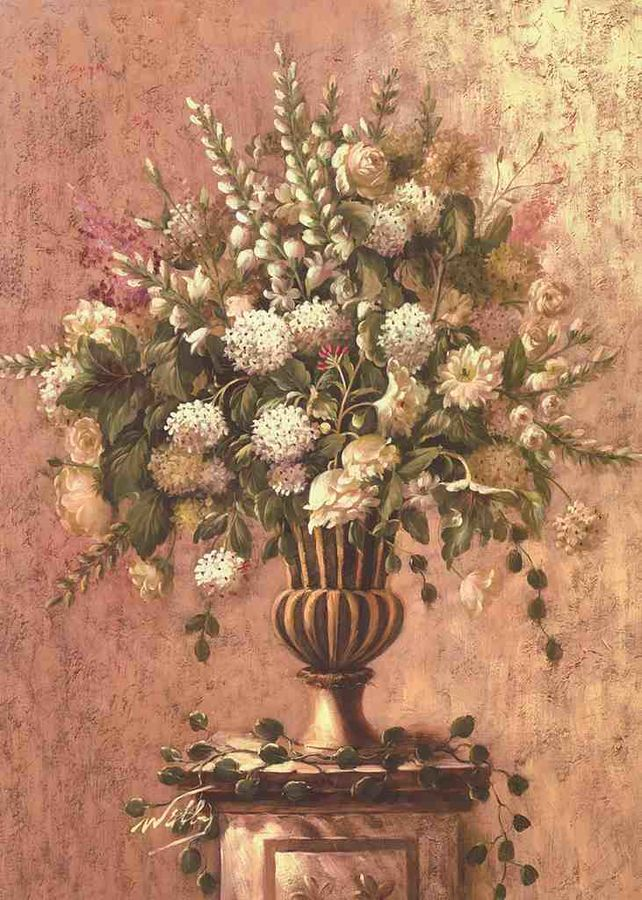 Pot with White flowers