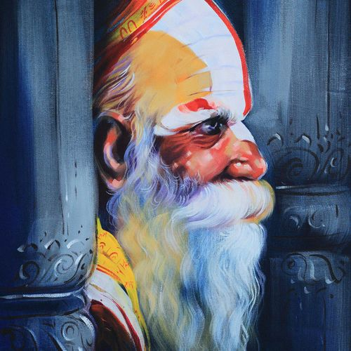 saga of saint-4, 18 x 24 inch, bijendra  pratap ,paintings for living room,religious paintings,canvas,acrylic color,18x24inch,GAL04531156