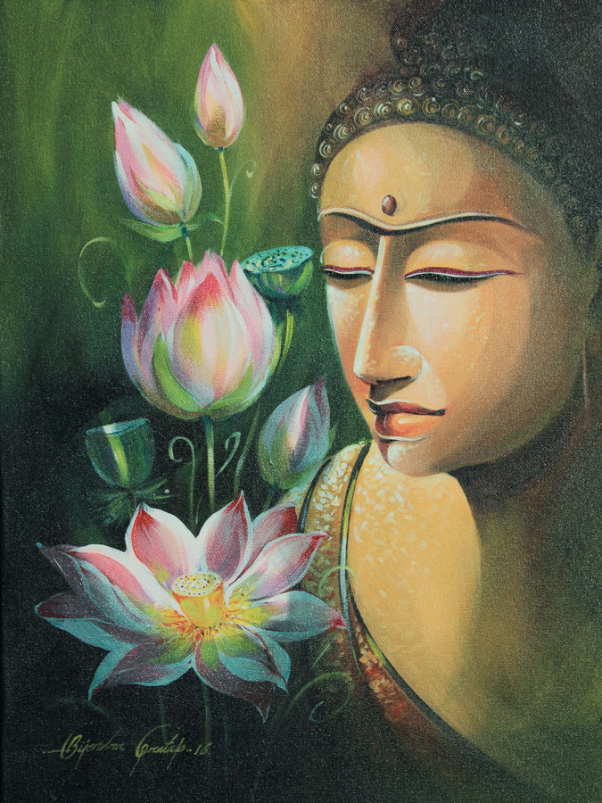 lord gautam buddha, 18 x 24 inch, bijendra  pratap ,buddha paintings,paintings for living room,paintings for office,canvas,acrylic color,18x24inch,GAL04531157