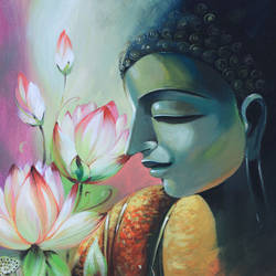 lord buddha, 15 x 22 inch, bijendra  pratap ,buddha paintings,paintings for living room,paintings for office,canvas,acrylic color,15x22inch,GAL04531158