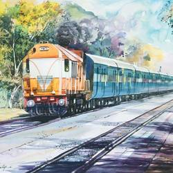 the train , 28 x 20 inch, bijendra  pratap ,landscape paintings,paintings for dining room,fabriano sheet,watercolor,28x20inch,GAL04531159