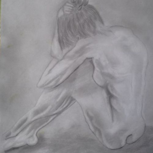 the nude woman, 11 x 15 inch, sangita  dey,figurative drawings,paintings for living room,paintings for bedroom,drawing paper,graphite pencil,11x15inch,GAL0483711594