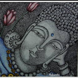 buddha, 16 x 12 inch, kanthi sukanthi,drawings,buddha paintings,paintings for living room,buddha drawings,paintings for living room,drawing paper,pen color,16x12inch,religious,peace,meditation,meditating,gautam,goutam,buddha,lord,black and white,sleeping,lotus,GAL072411595