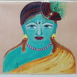 lord krishna , 24 x 18 inch, sangeeta  puranik ,paintings,religious paintings,paintings for living room,paintings for living room,canvas,oil paint,24x18inch,GAL0485811599