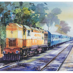 the train -2, 28 x 20 inch, bijendra  pratap ,landscape paintings,paintings for dining room,fabriano sheet,watercolor,28x20inch,GAL04531160