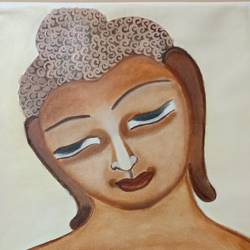 lord buddha , 22 x 24 inch, sangeeta  puranik ,paintings,buddha paintings,paintings for living room,canvas,oil paint,22x24inch,religious,peace,meditation,meditating,gautam,goutam,buddha,lord,brown,face,GAL0485811600