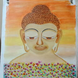 lord buddha , 24 x 30 inch, sangeeta  puranik ,paintings,buddha paintings,paintings for living room,canvas,acrylic color,24x30inch,religious,peace,meditation,meditating,gautam,goutam,buddha,lord,brown,flowers,face,GAL0485811601