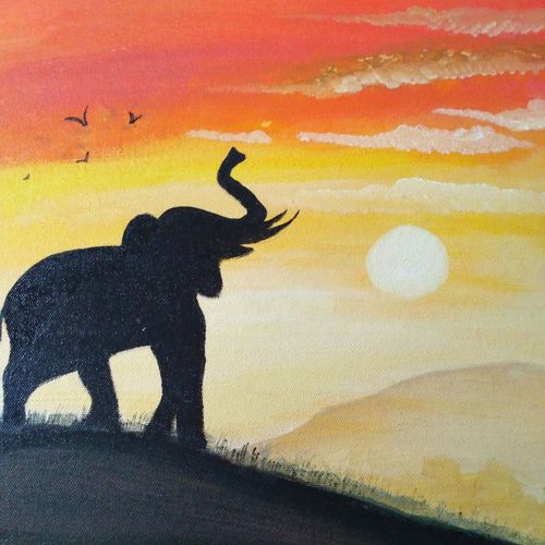 sunset and elephant , 12 x 16 inch, mamata mayi rath,paintings,landscape paintings,paintings for living room,paintings for living room,canvas,acrylic color,12x16inch,GAL0486011606