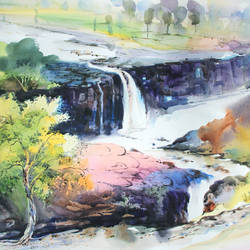 water fall , 28 x 20 inch, bijendra  pratap ,nature paintings,paintings for dining room,fabriano sheet,watercolor,28x20inch,GAL04531161Nature,environment,Beauty,scenery,greenery