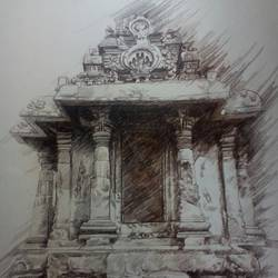 temple sketch, 24 x 30 inch, ronak dodia,drawings,paintings for dining room,paintings for living room,paintings for bedroom,paintings for office,paintings for hotel,fine art drawings,paintings for dining room,paintings for living room,paintings for bedroom,paintings for office,paintings for hotel,thick paper,charcoal,24x30inch,GAL0486611610