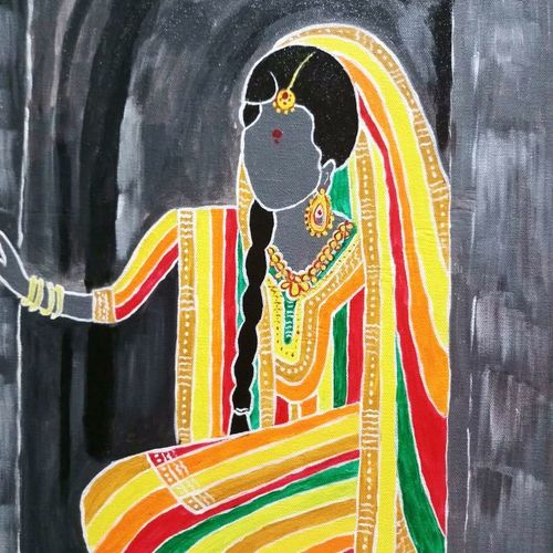 santhali women waiting for someone , 16 x 20 inch, shuchita srivastava,expressionist paintings,paintings for living room,paintings for living room,canvas,acrylic color,16x20inch,GAL0398411611