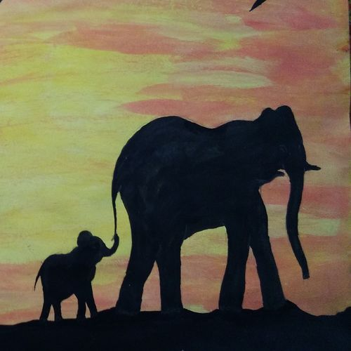 elephant family , 22 x 15 inch, dhyneshwar  nair,paintings for living room,paintings for living room,elephant paintings,drawing paper,watercolor,22x15inch,GAL0475211612