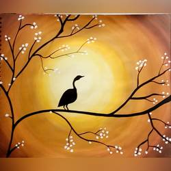 sunrise and nature, 16 x 12 inch, pratishtha majumdar,paintings,nature paintings,paintings for living room,paintings for living room,thick paper,poster color,16x12inch,GAL0470611614Nature,environment,Beauty,scenery,greenery,bird,beautiful,sun,trees,mountain,sunrise