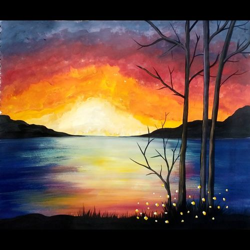 sunset at the lake, 16 x 12 inch, pratishtha majumdar,paintings,landscape paintings,nature paintings,paintings for living room,paintings for bedroom,paintings for living room,paintings for bedroom,thick paper,poster color,16x12inch,GAL0470611615Nature,environment,Beauty,scenery,greenery