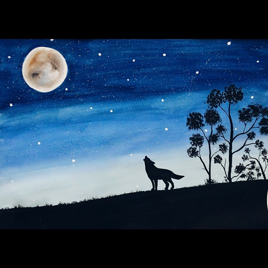 lone wolf , 16 x 12 inch, pratishtha majumdar,paintings,wildlife paintings,nature paintings,paintings for living room,paintings for hotel,thick paper,acrylic color,poster color,16x12inch,wolf,forest,night,GAL0470611616Nature,environment,Beauty,scenery,greenery,wolf,growling,moon,moonlight,stars,wolf,nightlifejungle,moon,stars