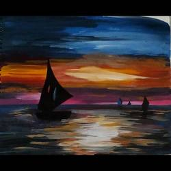 dark night rises, 16 x 12 inch, pratishtha majumdar,paintings,landscape paintings,nature paintings,paintings for living room,paintings for bedroom,paintings for hotel,thick paper,acrylic color,poster color,16x12inch,GAL0470611619Nature,environment,Beauty,scenery,greenery