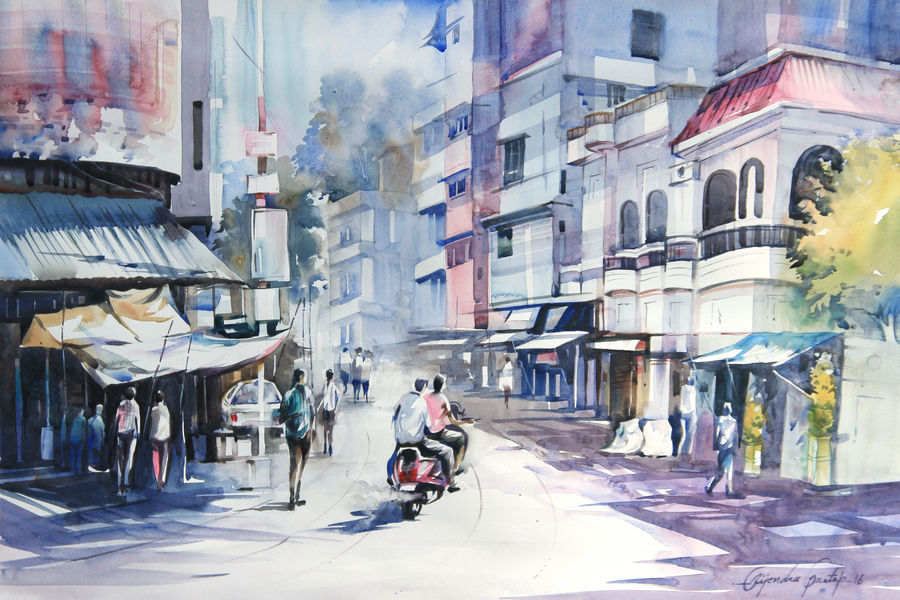 a street of kanpur , 28 x 20 inch, bijendra  pratap ,cityscape paintings,paintings for dining room,fabriano sheet,watercolor,28x20inch,GAL04531162