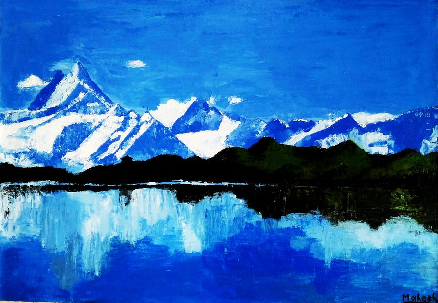 the mountains , 34 x 24 inch, mahesh bommanalli,paintings,landscape paintings,nature paintings,paintings for living room,paintings for office,paintings for hotel,paintings for living room,paintings for office,paintings for hotel,canvas,acrylic color,34x24inch,GAL036411622Nature,environment,Beauty,scenery,greenery