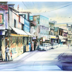 a street of kanpur -2, 28 x 20 inch, bijendra  pratap ,cityscape paintings,paintings for dining room,fabriano sheet,watercolor,28x20inch,GAL04531163