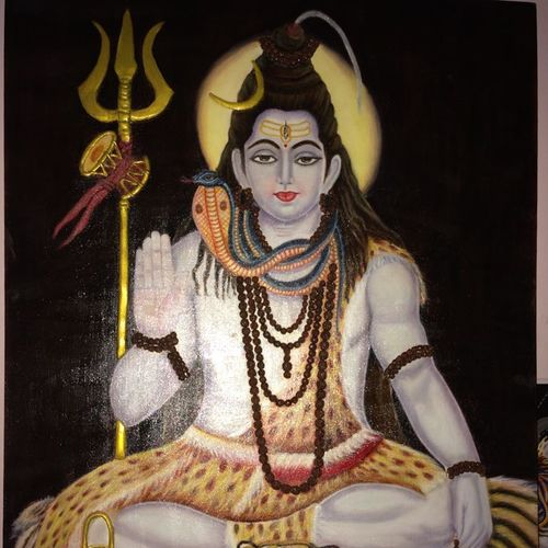 god sankar - the divine, 24 x 36 inch, chhaya agrawal,figurative paintings,paintings for living room,paintings for office,paintings for hotel,canvas,oil,24x36inch,GAL0489811637