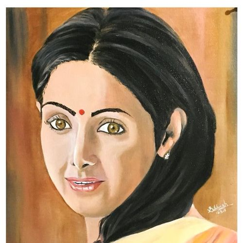 sridevi - a legend, 16 x 20 inch, subhash gijare,paintings,portrait paintings,paintings for dining room,paintings for living room,paintings for bedroom,paintings for hotel,canvas,oil,16x20inch,GAL013811645