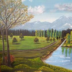 landscape of beautiful kashmir, 30 x 24 inch, safia khan,paintings,landscape paintings,paintings for dining room,paintings for living room,paintings for bedroom,paintings for dining room,paintings for living room,paintings for bedroom,canvas board,fabric,oil,pastel color,30x24inch,GAL0489311646