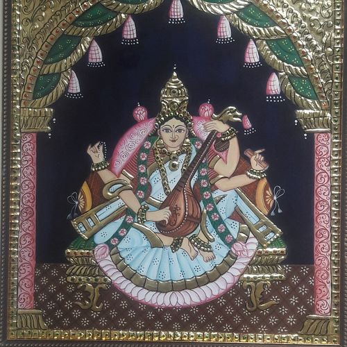 goddess saraswati, 14 x 18 inch, manishi narula,religious paintings,tanjore paintings,paintings for living room,paintings for office,paintings for hotel,paintings for living room,paintings for office,paintings for hotel,paintings,hardboard,24 carat gold foil,ink color,photo ink,poster color,14x18inch,GAL0488511647