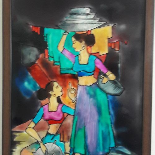 village girls, 12 x 18 inch, manishi narula,paintings for living room,paintings for hotel,figurative paintings,acrylic glass,glass,12x18inch,GAL0488511648