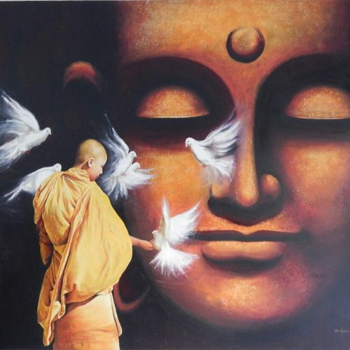 lord buddha, 60 x 48 inch, ronak dodia,buddha paintings,portrait paintings,realism paintings,contemporary paintings,paintings for dining room,paintings for living room,paintings for bedroom,paintings for office,paintings for hotel,paintings for dining room,paintings for living room,paintings for bedroom,paintings for office,paintings for hotel,canvas,oil,60x48inch,religious,peace,meditation,meditating,gautam,goutam,buddha,monk,idol,birds,brown,giving blessing,GAL0486611649