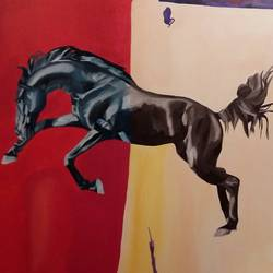 knight (i), 56 x 42 inch, varun kapoor,paintings,animal paintings,contemporary paintings,realistic paintings,horse paintings,paintings for dining room,paintings for living room,paintings for bedroom,paintings for office,paintings for hotel,canvas,acrylic color,56x42inch,GAL0491411654