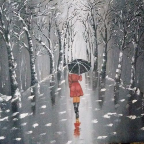 lady walking on road , 24 x 24 inch, dinesh dalavoy,paintings,modern art paintings,paintings for living room,paintings for office,paintings for hotel,paintings for living room,paintings for office,paintings for hotel,canvas,acrylic color,24x24inch,GAL0492911668