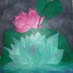 lotus flower , 11 x 14 inch, mariam vasava,paintings,flower paintings,paper,oil,11x14inch,GAL0491611669