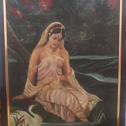 royal princess enjoying nature, 20 x 26 inch, manishi narula,portrait paintings,nature paintings,paintings for living room,paintings for bedroom,paintings for hotel,paintings for living room,paintings for bedroom,paintings for hotel,hardboard,oil paint,20x26inch,GAL0488511674Nature,environment,Beauty,scenery,greenery