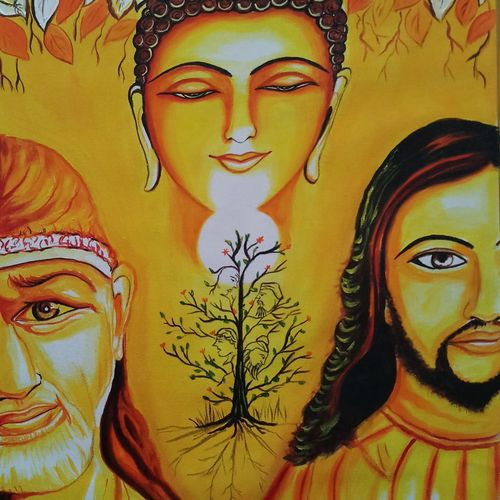 god created human but he create diverse in caste and religion, 18 x 24 inch, sandhya kumari,paintings,religious paintings,expressionist paintings,paintings for dining room,paintings for living room,paintings for office,paintings for kids room,paintings for hotel,cloth,acrylic color,18x24inch,GAL0365911677