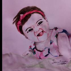 kid with naughty smile , 8 x 8 inch, irena tigga,paintings,baby paintings,paper,acrylic color,8x8inch,GAL0494611678