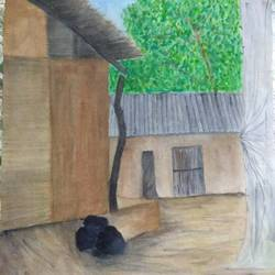 village house, 15 x 21 inch, mariam vasava,paintings,nature paintings,thick paper,watercolor,15x21inch,GAL0491611686Nature,environment,Beauty,scenery,greenery