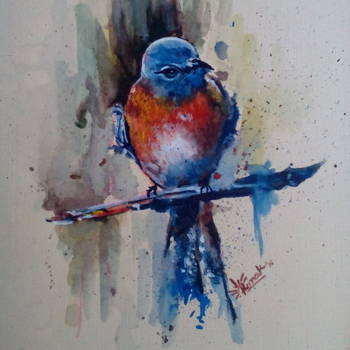 bird, 12 x 18 inch, ronak dodia,paintings,wildlife paintings,realism paintings,realistic paintings,paintings for dining room,paintings for living room,paintings for bedroom,paintings for office,paintings for kids room,paintings for hotel,thick paper,poster color,12x18inch,GAL0486611689