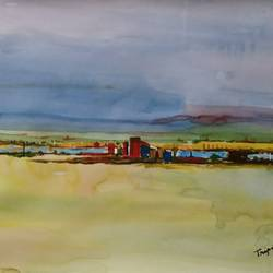 affordable  abstract landscape, 16 x 11 inch, tripati dey,paintings,landscape paintings,paintings for living room,ivory sheet,mixed media,16x11inch,GAL0421811696