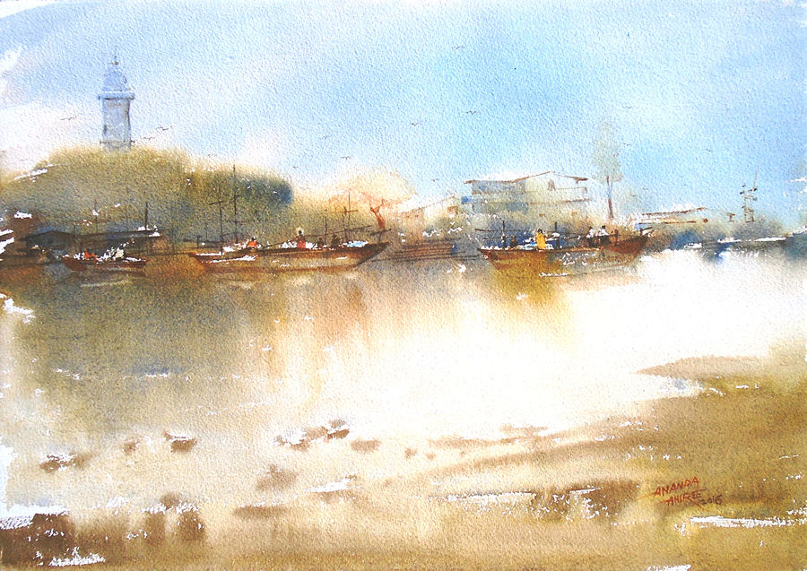 watre reflection, 20 x 14 inch, ananda ahire,landscape paintings,paintings for office,thick paper,watercolor,20x14inch,GAL034117