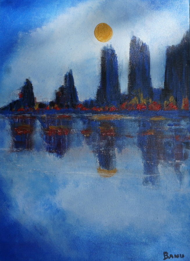 city love, 12 x 16 inch, harshita bisht (banu),abstract paintings,paintings for living room,canvas,acrylic color,12x16inch,GAL04851172