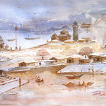 happy village, 14 x 20 inch, ananda ahire,landscape paintings,paintings for office,thick paper,watercolor,14x20inch,GAL034118
